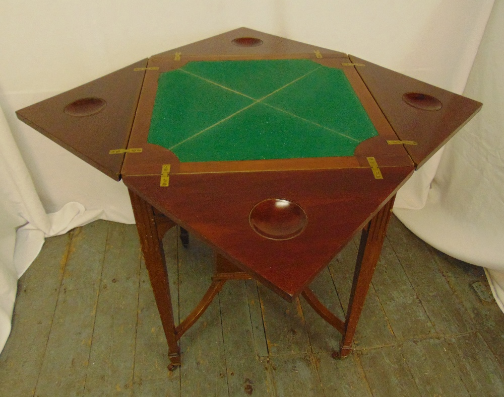 A mahogany envelope card table, the single drawer with brass handles on four tapering rectangular - Image 2 of 2