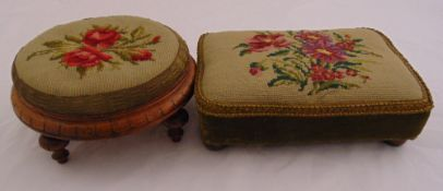 Two Victorian foot stools both with tapestry upholstery, a. 14.5 x 30cm b. 10.5 x 36 x 26cm