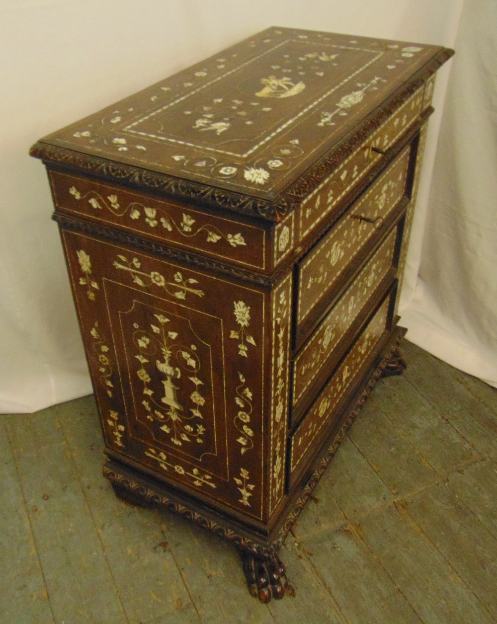 An Indo Portuguese rectangular inlaid oak chest of drawers on four claw feet, 90 x 81 x 42cm - Image 3 of 3