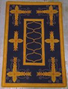 V'Soske rectangular rug with repeating designs, retailed by Liberty, label to underside, 198 x 137