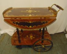 An Italian Sorrento style drinks trolley inlaid with floral and leaf clusters, two drop flaps,