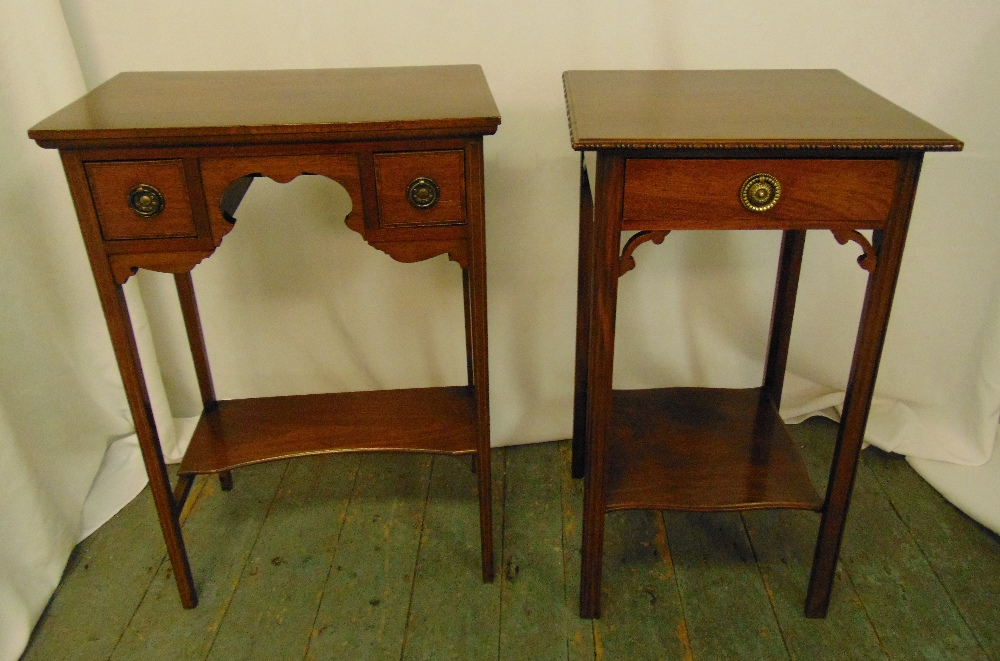 Two rectangular mahogany bedside tables, the drawers with brass swing handles, 72 x4 9.5 x 31.5cm