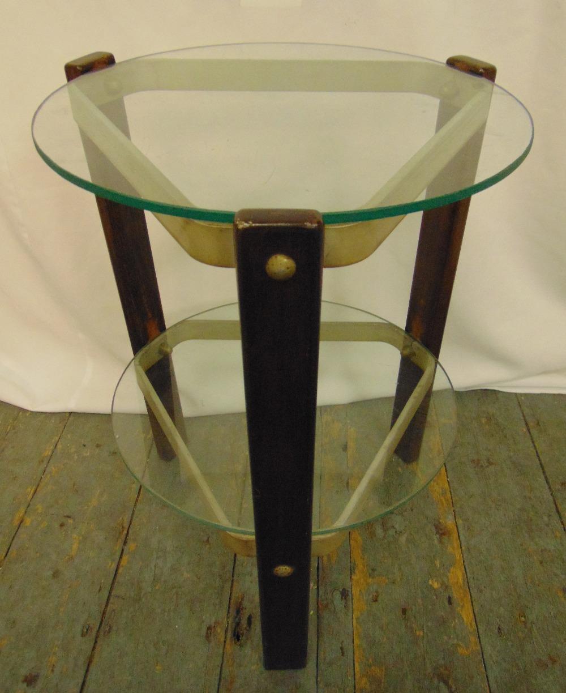An Art Deco circular two tier side table, 50cm (h) 37.5cm diameter