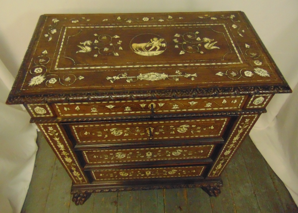 An Indo Portuguese rectangular inlaid oak chest of drawers on four claw feet, 90 x 81 x 42cm - Image 2 of 3