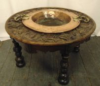 A 19th century continental oak circular table carved with figures and scrolls the centre inset