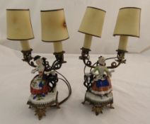 A pair of continental gilded metal table lamps with applied porcelain figurines of seated ladies,