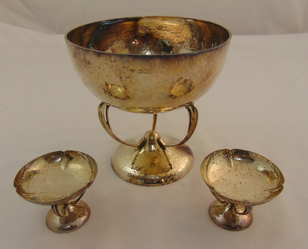 A silver hand hammered fruit bowl London 1914 by Goldsmith & Silversmiths and two hallmarked