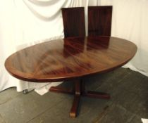Danish rosewood dining table with two drop in leaves, 73 x 280 x 119.5cm, to include CITES