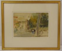 Roland Batchelor framed and glazed watercolour titled Cahors on the River, signed bottom left, 20.
