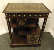 A Moroccan style rectangular mahogany and inlaid Mother of Pearl display stand, 82 x 65 x 39cm