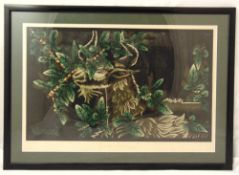 Andre Lurcat framed and glazed polychromatic print, signed to the base, 42 x 64cm