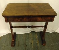 Mahogany rectangular two drawer side table on two supports with bun feet, 72.5 x 66 x 38.5cm