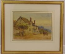 F. Mercer framed and glazed watercolour of a country cottage, signed bottom left, 24 x 34cm