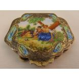 A 19th century Austrian white metal and enamel compact painted with a courting couple in a garden,