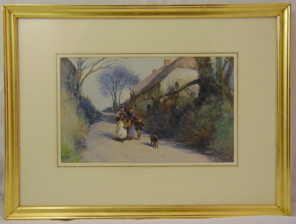 John White framed gouache titled Going to Market, gallery label to verso, 27.5 x 45cm