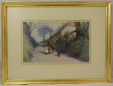 John White framed gouache titled Going to Market, gallery label to verso, 27.5 x 45cm