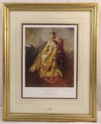 Terence Cuneo framed and glazed limited edition polychromatic print of Queen Elizabeth II, 133/