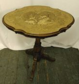 Victorian mahogany and satinwood inlaid tilt top occasional table, 77 x 63.5 x 46.5cm