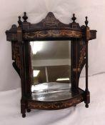 A mahogany and satinwood inlaid mirror backed wall shelf, 51 x 43 x 12cm