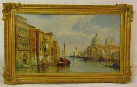 Jane Vivian framed oil on canvas of The Grand Canal Venice, signed bottom left, 46 x 81cm