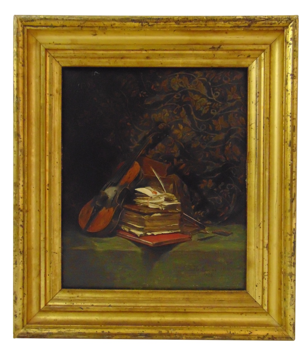 Edward George Handle Lucas framed oil on panel titled Loved Ones, signed bottom right, gallery label