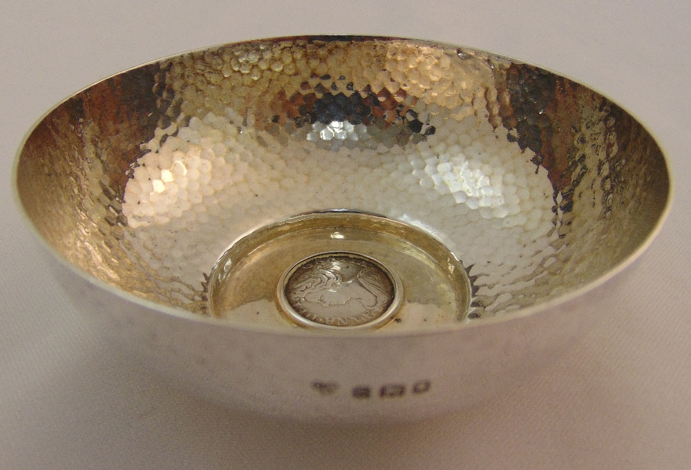 Silver hand hammered bowl with inset coin, London 1918, approx total weight 120g