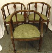 Three early 20th century mahogany chairs with upholstered seats, 75 x 54.5 x 50cm