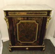 A rectangular Boule work cabinet with gilt metal decorations, marble top, on four bun feet, A/F, 107