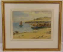 Warren Williams ARCA framed and glazed watercolour titled Red Wharf Bay Anglesey, signed bottom
