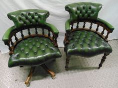 Two reproduction Captains chairs, one on castors