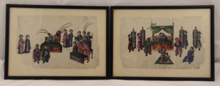 A pair of framed and glazed Chinese pith paintings of figures in an interior scene, 18 x 30cm