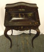 A Victorian painted writing desk on cabriole legs, A/F