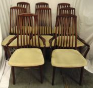Danish rosewood dining chairs to include two carvers and six chairs, to include CITES certificate