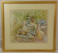 Michael Emmett framed and glazed watercolour titled The Violin, signed bottom left, 48 x 54cm