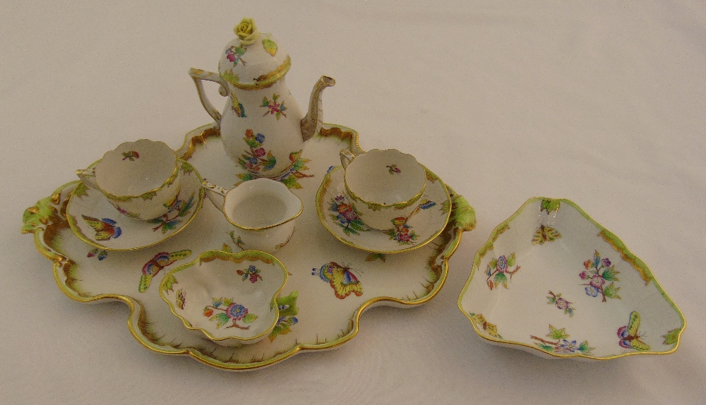 Herend coffee for two to include a coffee pot, milk jug, sugar bowl, two cups and saucers, a