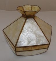A hexagonal metal and faux mother of pearl ceiling light, 24 x 36cm