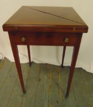 A mahogany envelope card table on tapering rectangular legs, the single drawer with brass handles,
