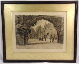 A late 19th century framed and glazed monochromatic etching of The Arch at Repton Public School,