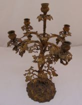 Gilded metal five branch table candelabrum on naturalistic base converted to electric, 51cm (h)