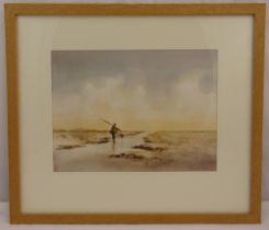 Michael Aubrey framed and glazed watercolour of a fisherman on a beach, signed bottom right, 25 x