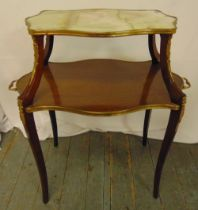 A mahogany shaped rectangular gilt mounted two tier serving table on four cabriole legs, 64 x 70.5 x