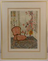 Rene Halpern framed and glazed limited edition polychromatic lithographic print of an interior scene