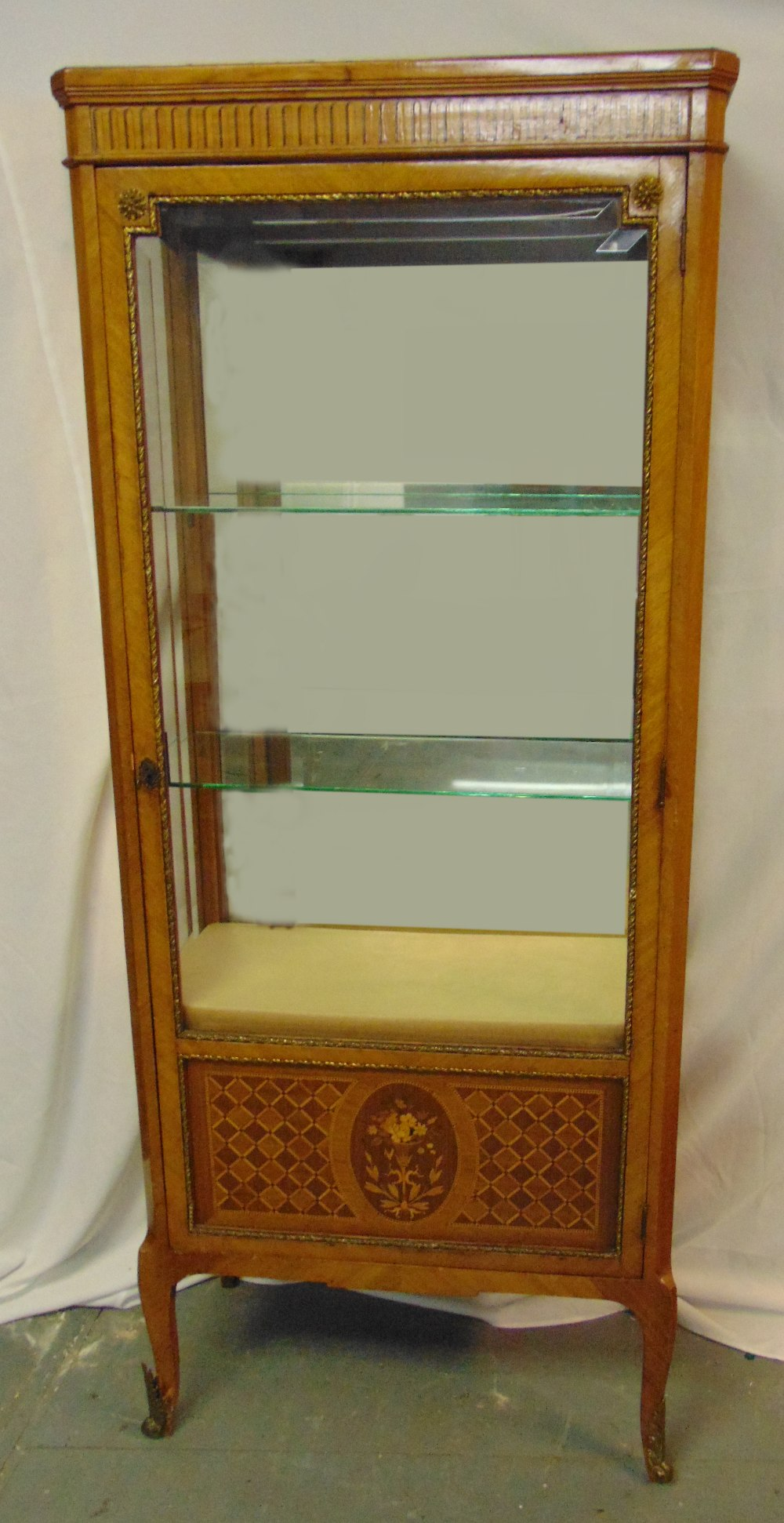 A French style rectangular glazed mahogany inlaid display cabinet on four cabriole legs, 173 x 72