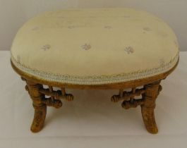 A Victorian aesthetic style gilded wooden foot stool with upholstered top decorated with roses, 17 x