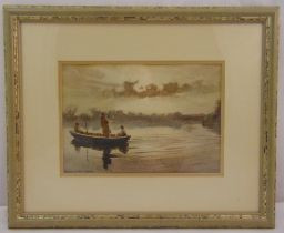Hanna Ford Jnr framed and glazed watercolour of figures in a boat on a lake, signed bottom left,