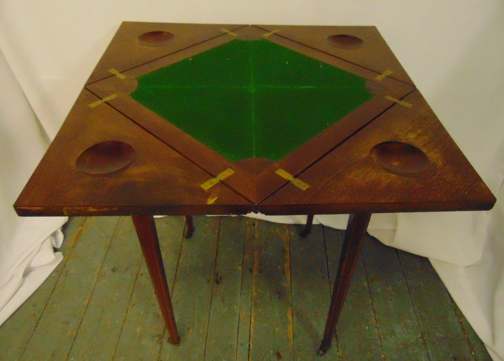 A mahogany envelope card table on tapering rectangular legs, the single drawer with brass handles, - Image 2 of 2