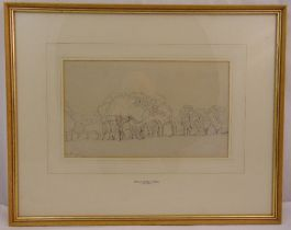 William Turner of Oxford framed and glazed monochromatic drawing of trees in a landscape signed