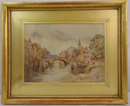 Louis Burleigh Bruhl framed and glazed watercolour of a Dutch canal, signed bottom right, 35 x 48cm