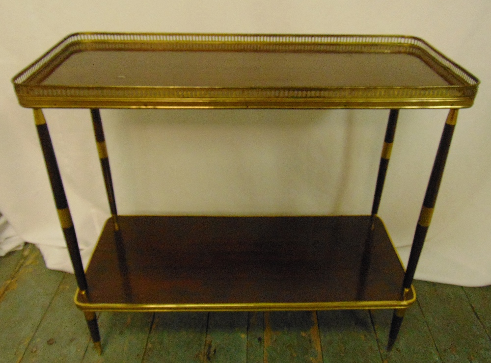 A 1960s rectangular mahogany and gilt metal two tier side table with pierced gallery top, 64 x 70.