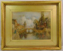 Louis Burleigh Bruhl framed and glazed watercolour of a Dutch canal with a church and a bridge,